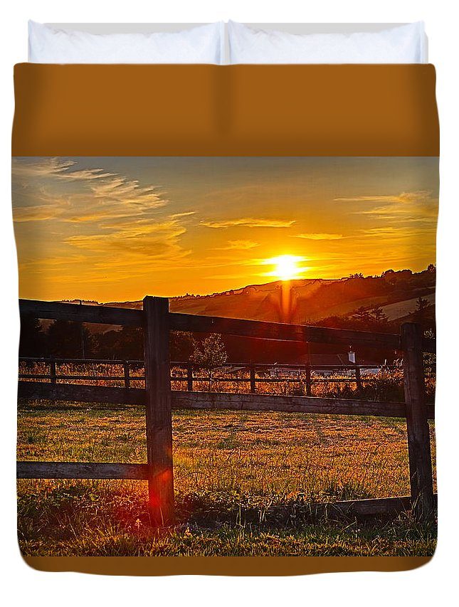 Sunset County Kerry Scartaglen Ireland Landscape Duvet Cover featuring the photograph Sunset At Scartaglen Ireland by Andy Donald