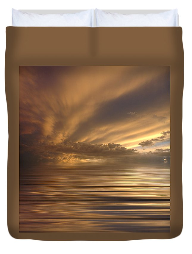 Sunset Duvet Cover featuring the photograph Sunset At Sea by Jerry McElroy