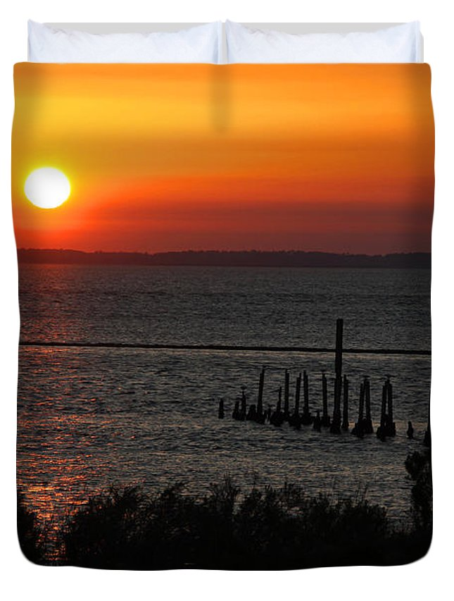Sunset Duvet Cover featuring the photograph Sunset At St.marks Nwf by Barbara Bowen