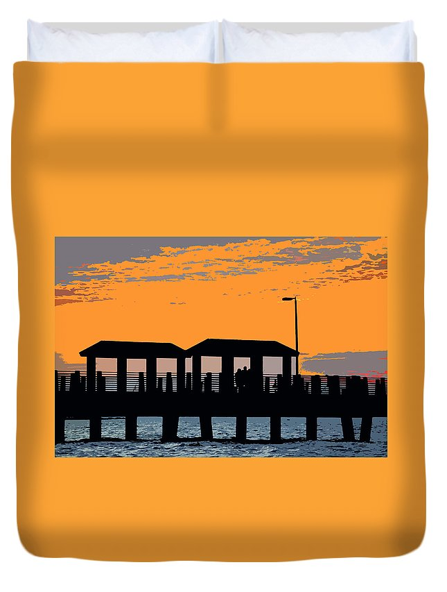 Art Duvet Cover featuring the painting Sunset At The Fishing Pier by David Lee Thompson