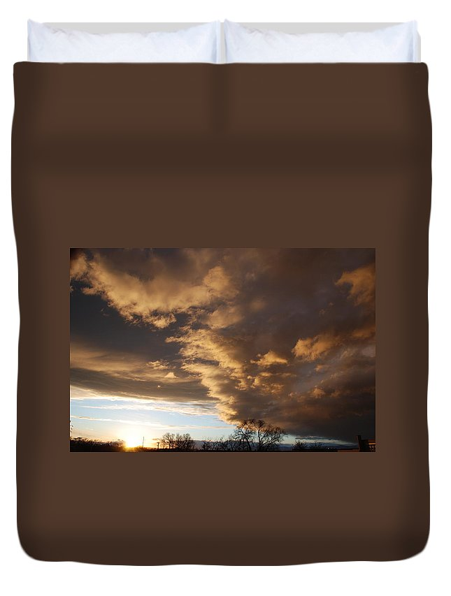Sunset Duvet Cover featuring the photograph Sunset At The New Mexico State Capital by Rob Hans