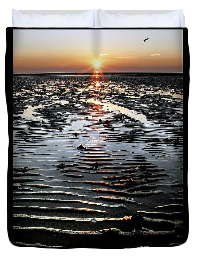 Sunset Duvet Cover featuring the photograph Sunset At The West Shore Llandudno by Mal Bray
