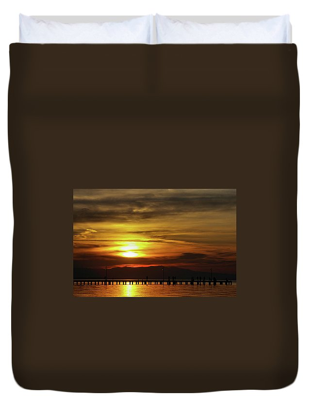 Greek Duvet Cover featuring the photograph Sunset At Thessaloniki by Tim Beach