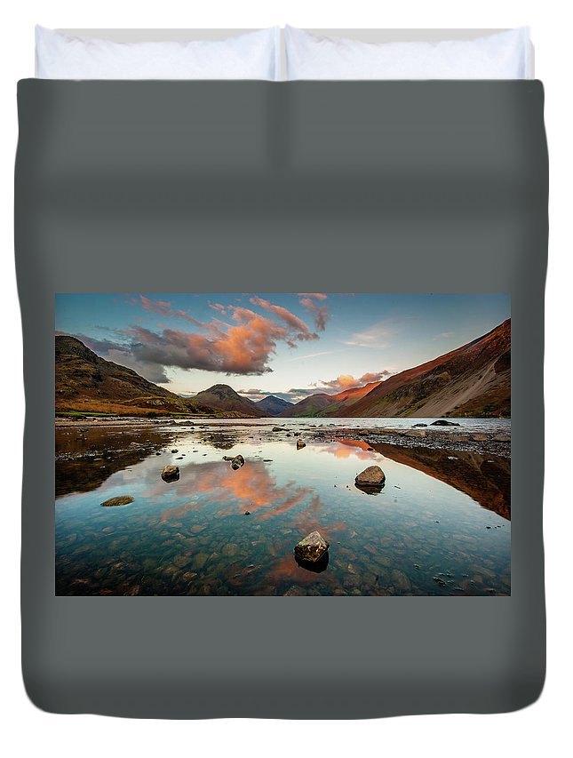 Sunrise Duvet Cover featuring the photograph Sunset at Wast Water #1, Wasdale, Lake District, England by Anthony Lawlor