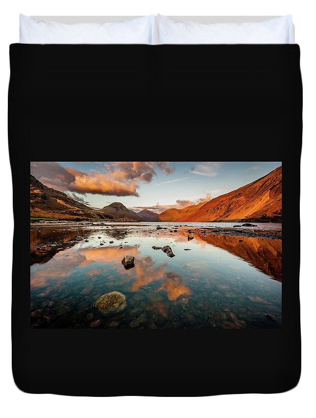 Sunrise Duvet Cover featuring the photograph Sunset at Wast Water #2, Wasdale, Lake District, England by Anthony Lawlor