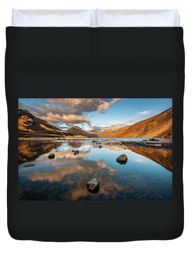 Sunrise Duvet Cover featuring the photograph Sunset at Wast Water #3, Wasdale, Lake District, England by Anthony Lawlor
