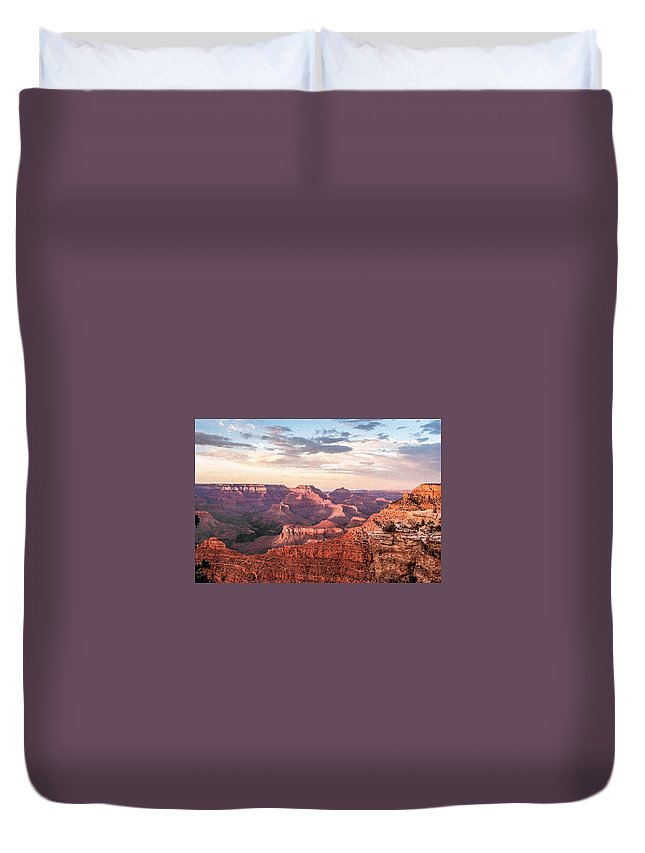 Sunset Duvet Cover featuring the photograph Sunset At Yaki Point 4 by Mike Wheeler