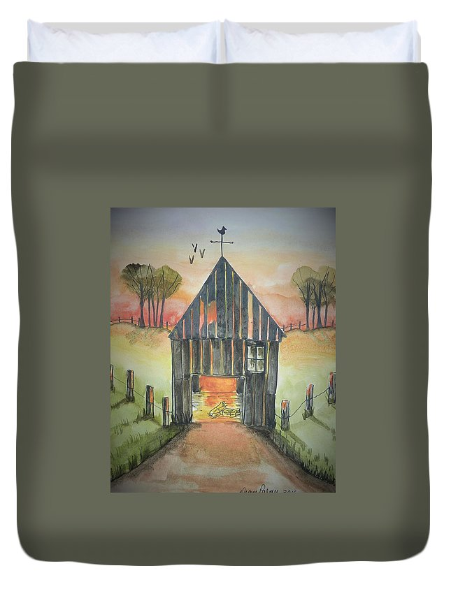 Barn Duvet Cover featuring the painting Sunset Barn by Diane Palmer