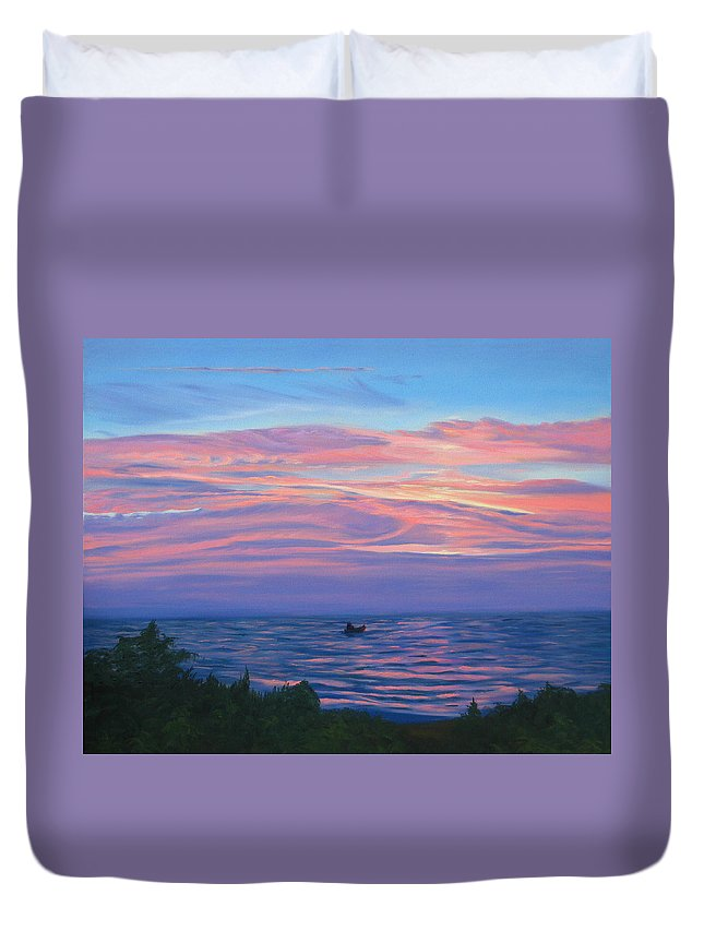 Seascape Duvet Cover featuring the painting Sunset Bay by Lea Novak