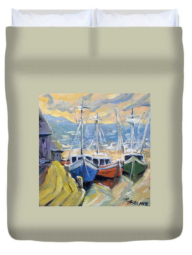 Sea Duvet Cover featuring the painting Sunset Bay by Richard T Pranke