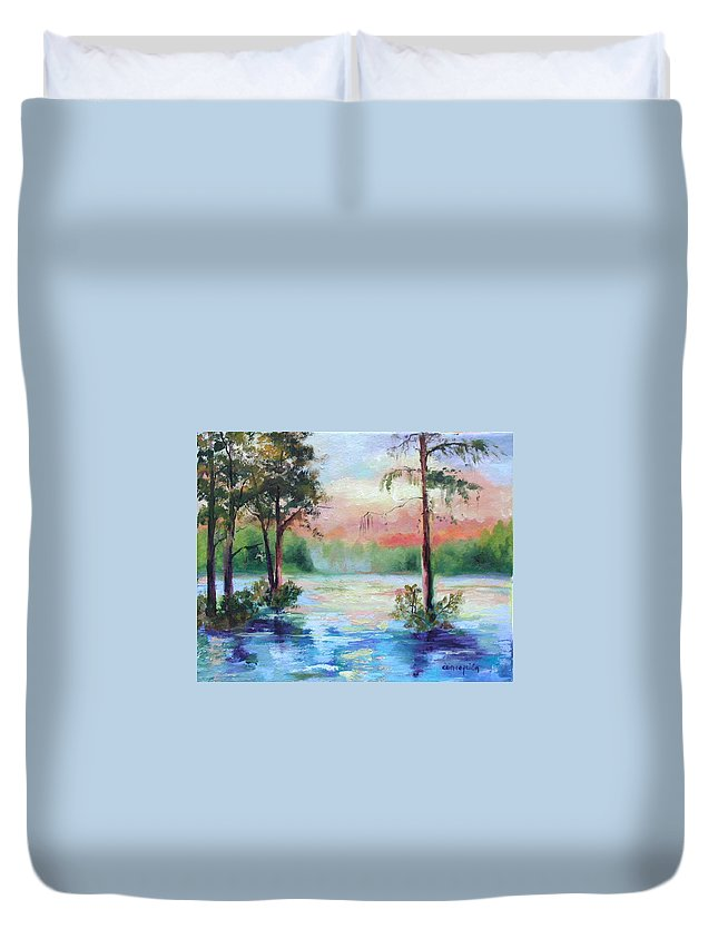 Sunset Duvet Cover featuring the painting Sunset Bayou by Ginger Concepcion