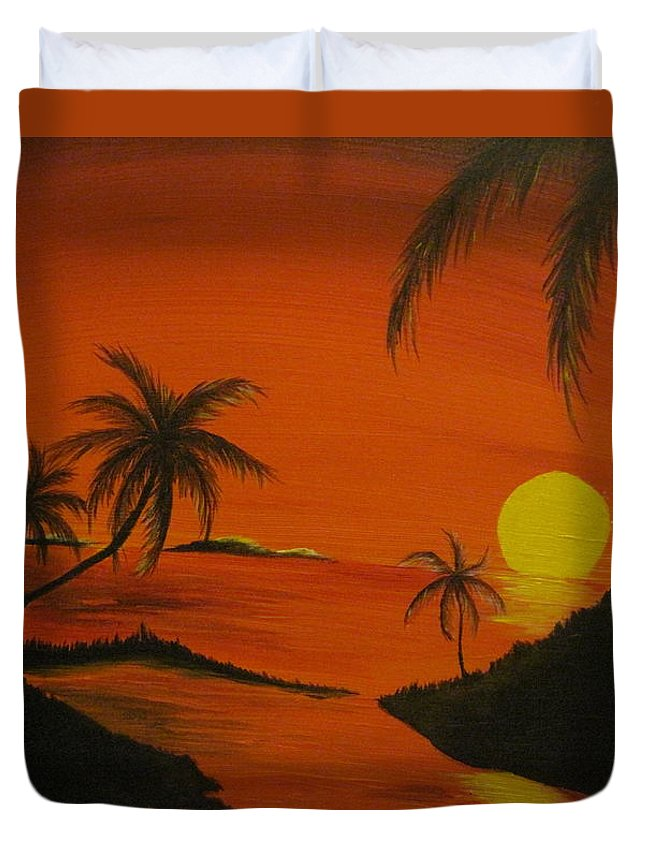 Beach Duvet Cover featuring the painting Sunset Beach by Ashley Warbritton