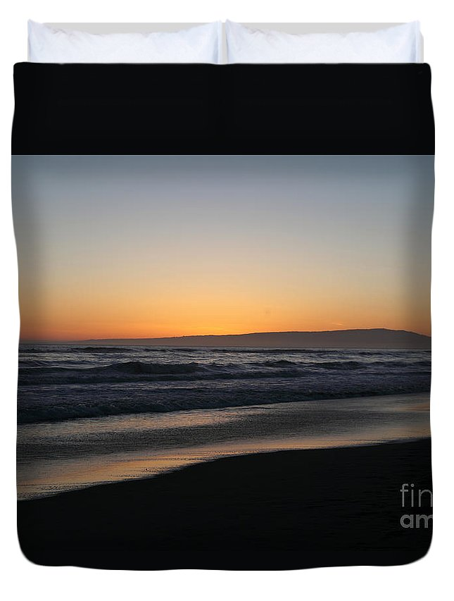 sunset Beach Duvet Cover featuring the photograph Sunset Beach California by Amanda Barcon