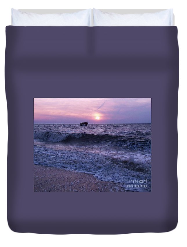 Sunset Duvet Cover featuring the painting Sunset Beach Nj And Ship by Eric Schiabor