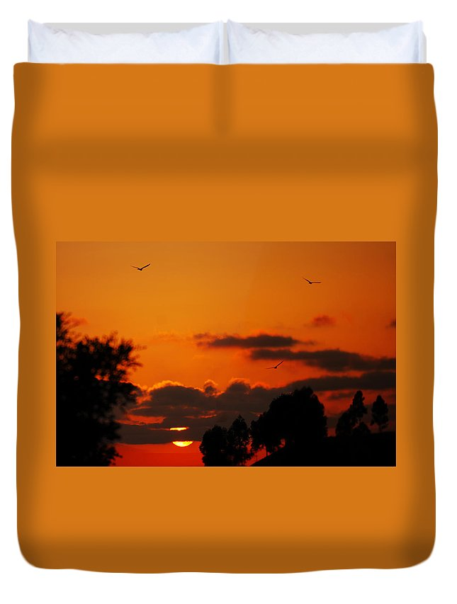 Sunset Duvet Cover featuring the photograph Sunset Birds by Jill Reger