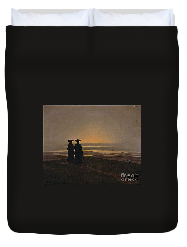 Caspar David Friedrich (1774 - 1840) Duvet Cover featuring the painting Sunset Brothers by MotionAge Designs