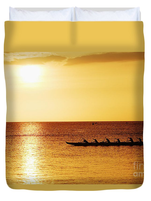 Boat Duvet Cover featuring the photograph Sunset Canoe by Vince Cavataio - Printscapes