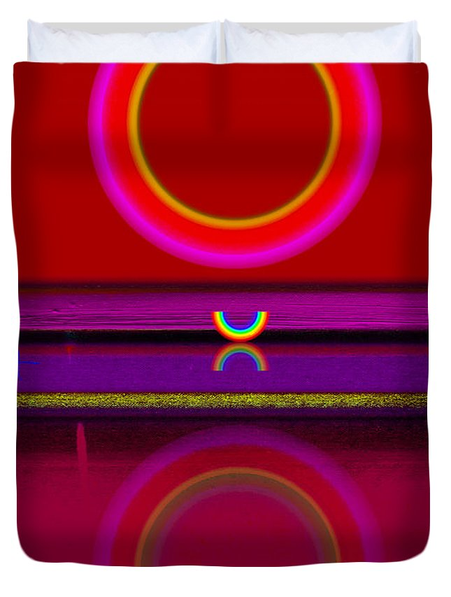 Red Duvet Cover featuring the painting Sunset by Charles Stuart