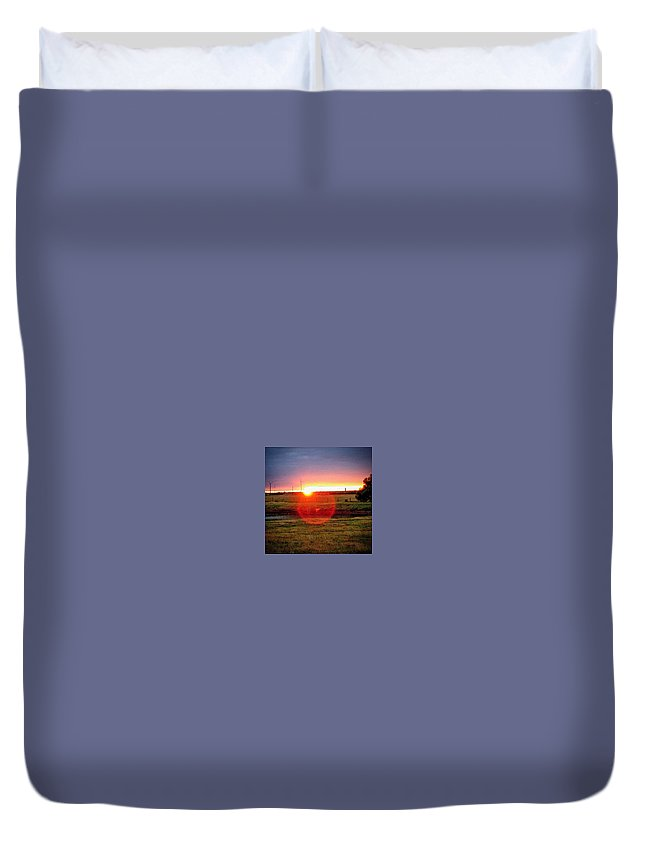 Sunset Duvet Cover featuring the photograph Sunset by Cheyene Vandament
