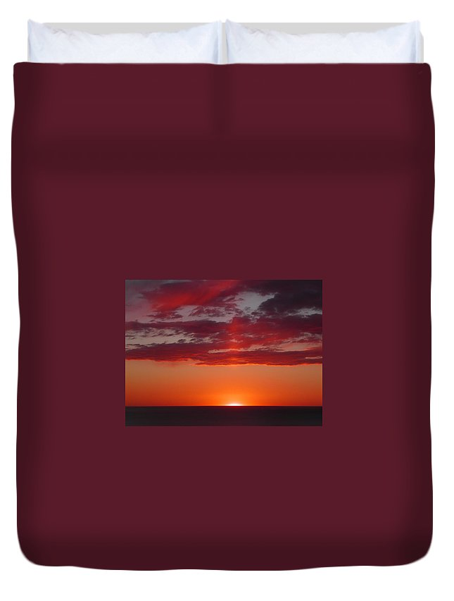 Sunset Duvet Cover featuring the photograph Sunset Cliffs by Strato ThreeSIXTYFive