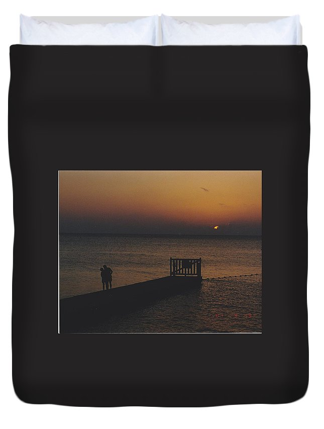 Sunsets Duvet Cover featuring the photograph Sunset Couple by Michelle Powell