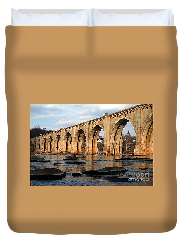 Bridge Duvet Cover featuring the photograph Sunset Crossing by Kelvin Booker