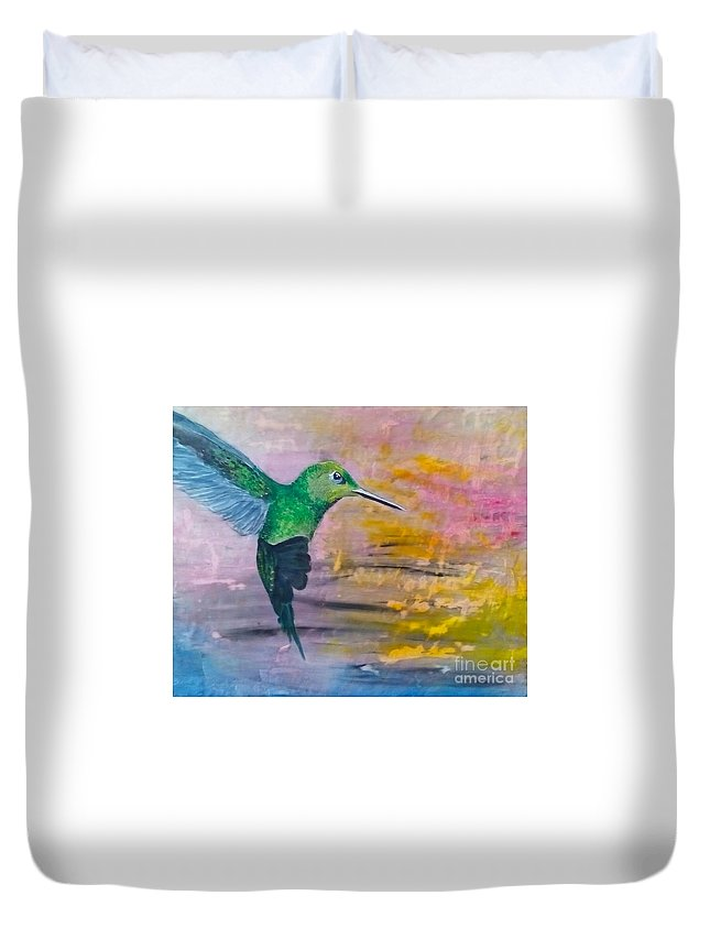 Hummingbird Duvet Cover featuring the painting Sunset Dancer by J Bauer
