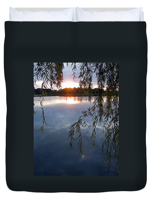 Nature Duvet Cover featuring the photograph Sunset by Daniel Csoka