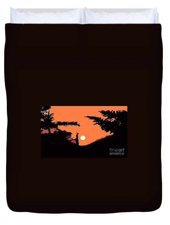 Sunset Duvet Cover featuring the painting Sunset by David Lee Thompson