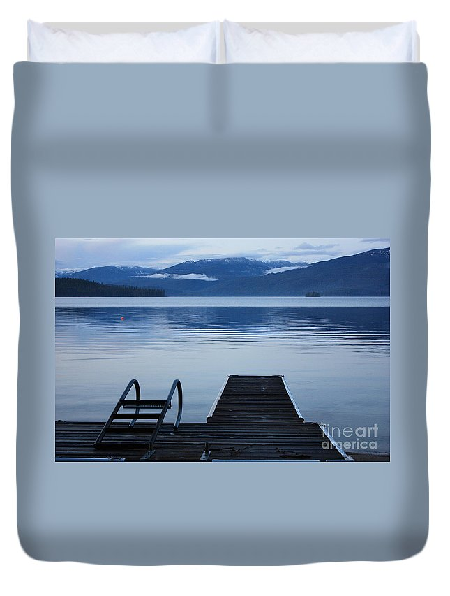 Priest Lake Duvet Cover featuring the photograph Sunset Dock At Priest Lake by Carol Groenen