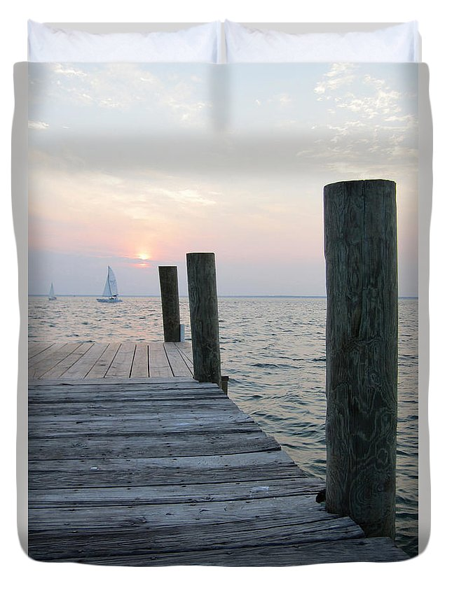 Bay Duvet Cover featuring the photograph Sunset Dockside by Jim Clark