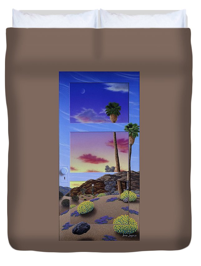 Landscape Duvet Cover featuring the painting Sunset Door by Snake Jagger