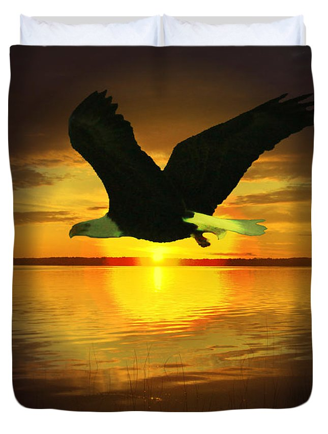 Sunset Eagle Water Lake Birds Of Prey Hunting Flying Skyscape Duvet Cover featuring the photograph Sunset Eagle by Andrea Lawrence