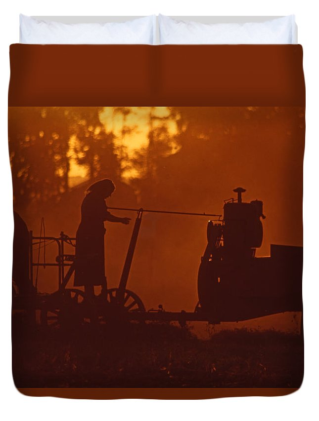 Amish Duvet Cover featuring the photograph Sunset Female Amish Farmer by Blair Seitz