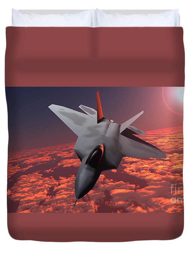 Fighter Duvet Cover featuring the painting Sunset Fire F22 Fighter Jet by Corey Ford