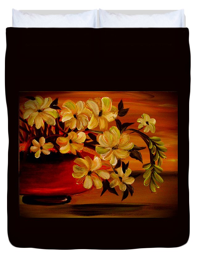 Floral Duvet Cover featuring the painting Sunset Floral by Sandra Young Servis
