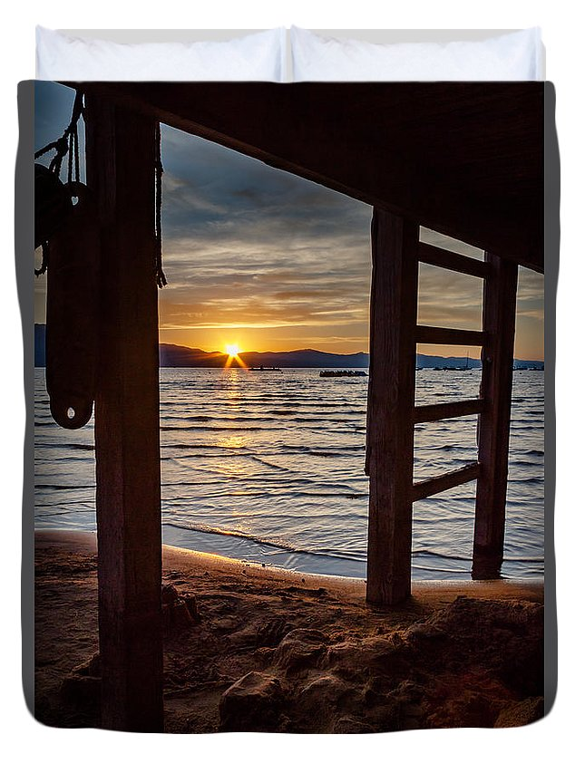 Landscape Duvet Cover featuring the photograph Sunset From Beneath The Pier by Mike Herron