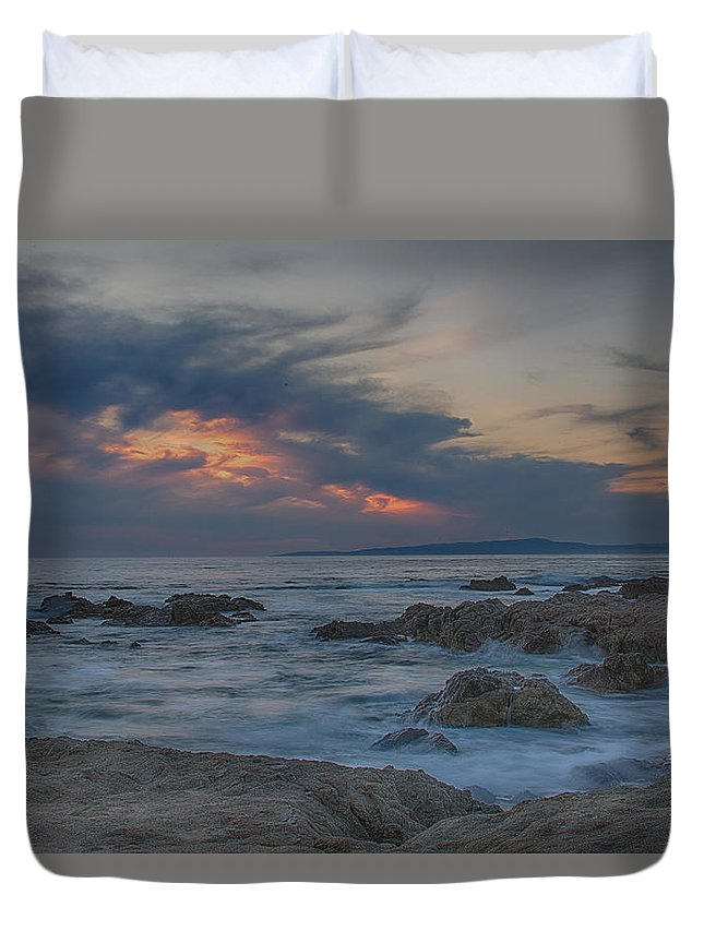 Asilomar Duvet Cover featuring the photograph Sunset From Pacific Grove by Bill Roberts