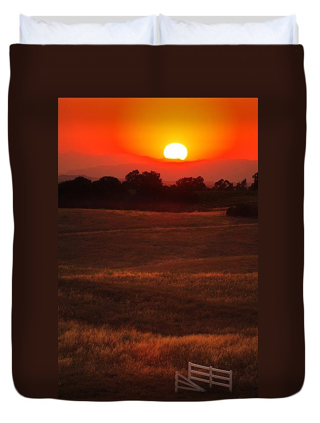 Sunset Duvet Cover featuring the photograph Sunset Gate by Jill Reger