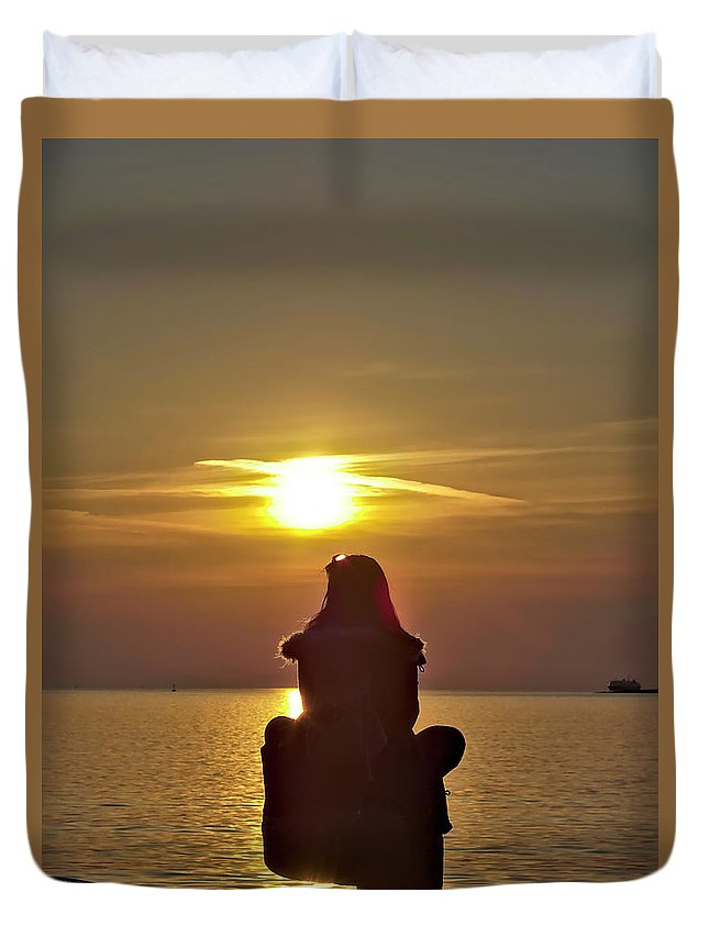 Sun Duvet Cover featuring the photograph Sunset Girl by Jarno Holappa