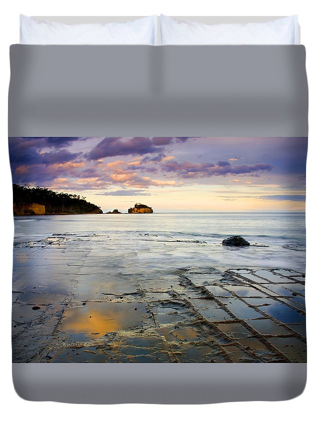 Tesselated Pavement Duvet Cover featuring the photograph Sunset Grid by Mike Dawson