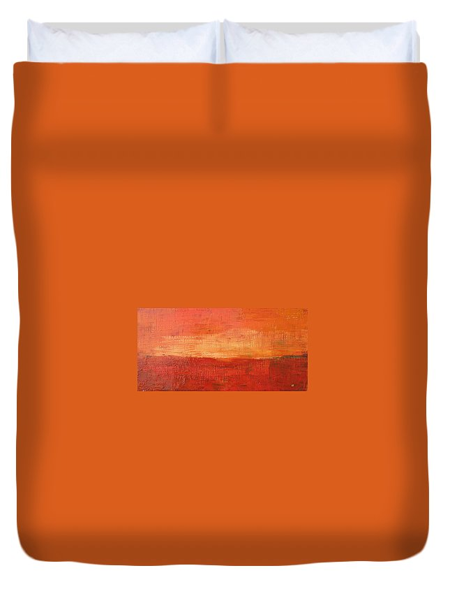 Abstract Duvet Cover featuring the painting Sunset by Habib Ayat