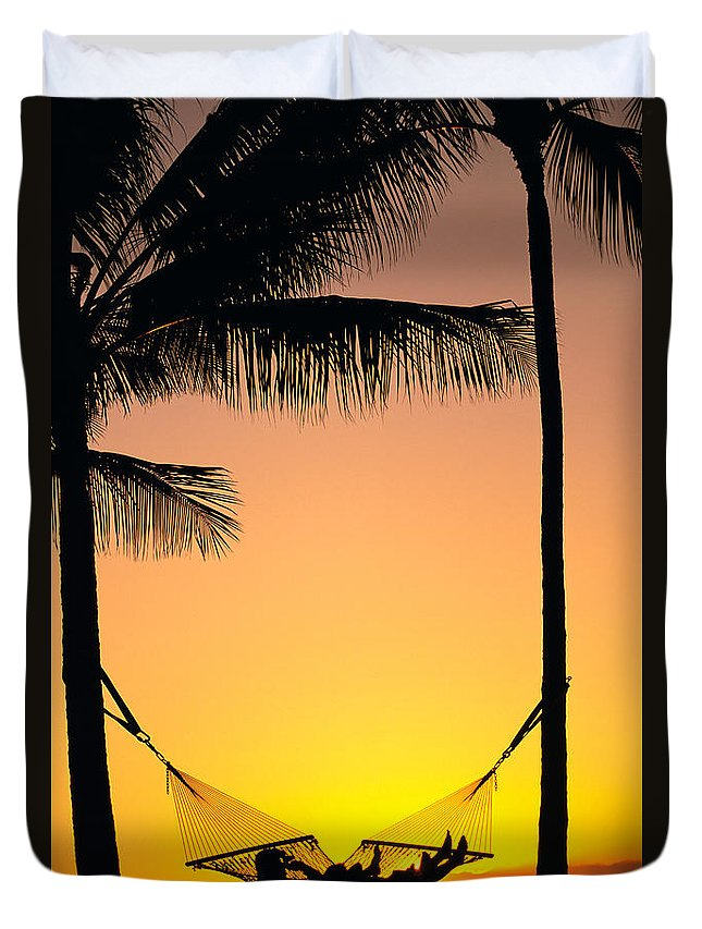 Affection Duvet Cover featuring the photograph Sunset Hammock by Dana Edmunds - Printscapes