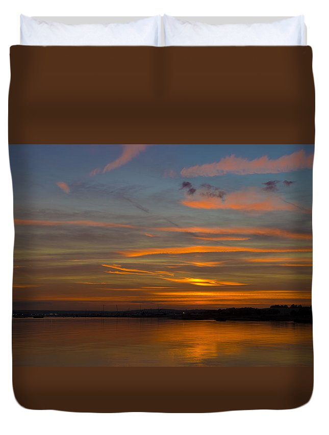 Sunset Duvet Cover featuring the photograph Sunset Hoo England by Chris Pickett