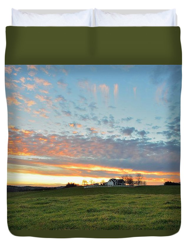 Sunset Duvet Cover featuring the photograph Sunset Home by Michael Scott