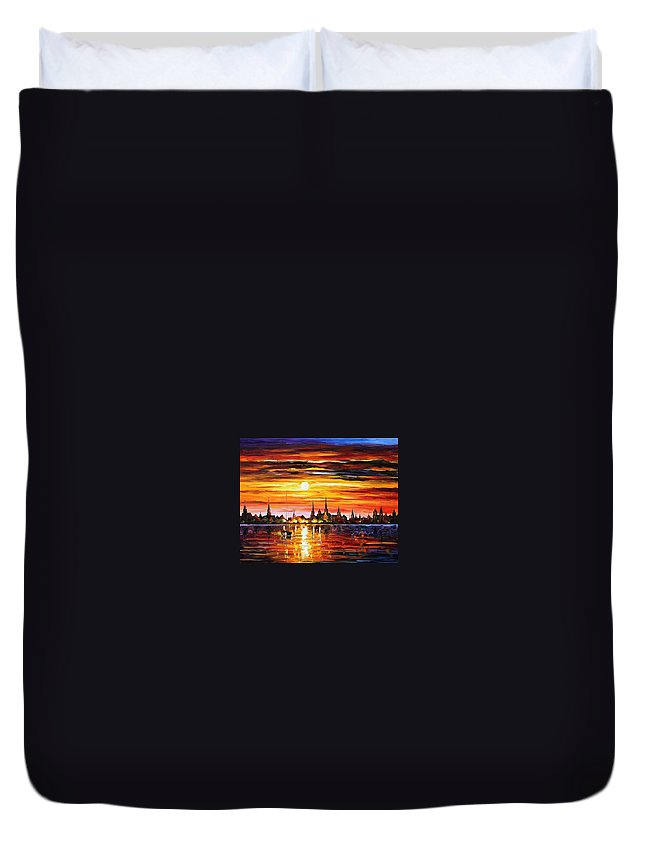 Afremov Duvet Cover featuring the painting Sunset In Barcelona by Leonid Afremov