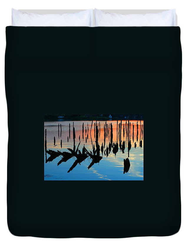 Clay Duvet Cover featuring the photograph Sunset In Colonial Beach Virginia by Clayton Bruster