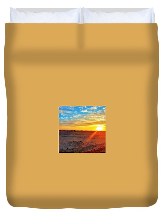Sunset Duvet Cover featuring the photograph Sunset In Egypt by Usman Idrees