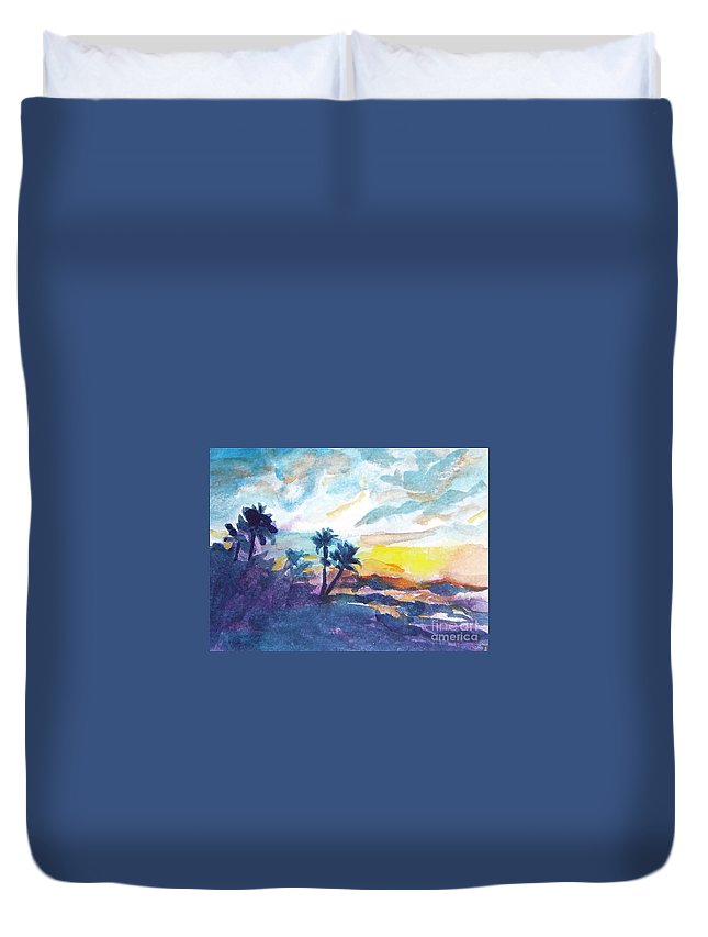 Landscape Duvet Cover featuring the painting Sunset In Hawaii by Jan Bennicoff