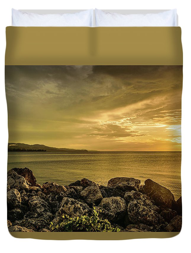 Vacation Destination Duvet Cover featuring the photograph Sunset In Montego Bay by Debbie Ann Powell